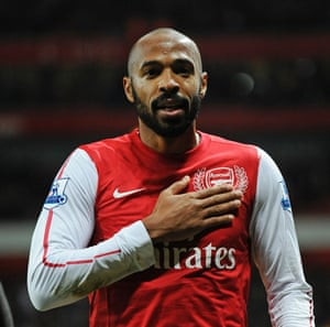 Thierry Henry with his trademark shaved head