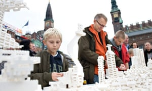 Copenhagen residents take part in one of Danish-Icelandic artist Olafur Eliasson's Lego town planning projects.