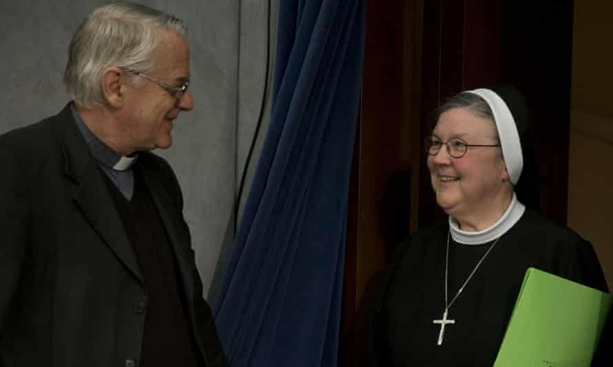 Hole See spokesman Father Federico Lombardi greets Mother Mary Clare Millea at the Vatican.