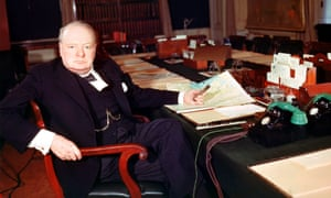 Winston Churchill at his desk, 1945