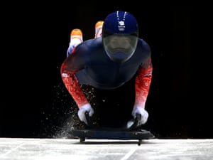 14 February: Great Britain's Lizzy Yarnold eyes the track through her visor during a training session at the Sliding Centre Sanki at the 2014 Sochi Olympic Games