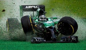 March 16: Kamui Kobayashi of Caterham crashes wildly after colliding with into Felipe Massa during the Australian Formula One Grand Prix at Albert Park in Melbourne