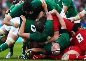 8 February: Paul O'Connell of Ireland feels the force of a collapsed scrum during the Six Nations match between Ireland and Wales at the Aviva Stadium in Dublin, Ireland