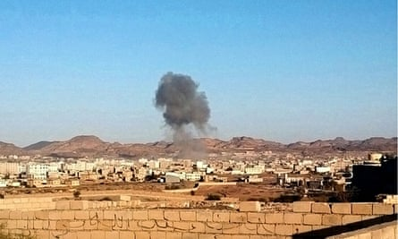 Smoke rises from the site of a car bomb in Rada, Yemen