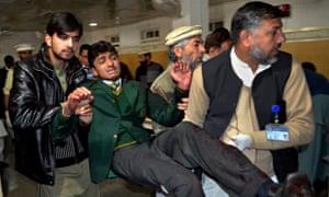 An injured student in Peshawar