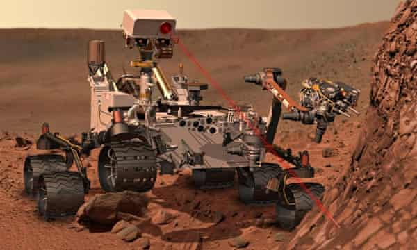 A computer-generated image of the Curiosity rover.