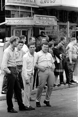 White hecklers yelling at marchers. Selma to Montgomery Alabama Civil Rights March, 24-26 March 1965.