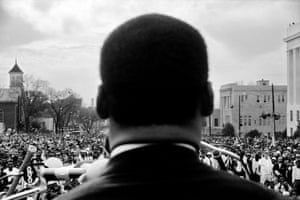 Dr. Martin Luther King, Jr. speaking to civil rights marchers at end of Selma to Montgomery, Alabama march. 25 March 1965