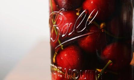 Bottled cherries.