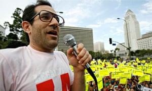 Dov Charney speaks rally