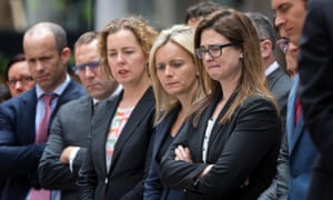 A group from Banco Chambers Barristers pay their respects in Martin Place