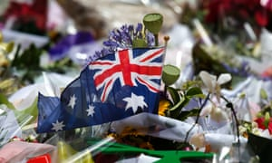 A flag in the sea of flowers in Martin Place