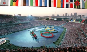 General view of the Olympic Stadium as performers