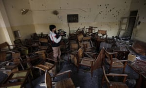 A view of a class room of Army Public School that was attacked by the Taliban militants in Peshawar, Pakistan
