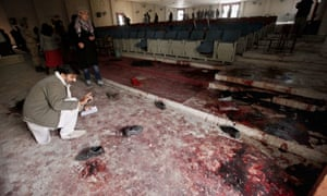 A view of the blood stained auditorium of Army Public School that was attacked by the Taliban militants in Peshawar.