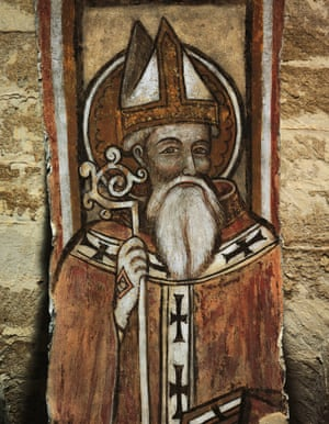 12th century fresco depicting St Nicholas of Bari, Crypt of Taranto Cathedral.