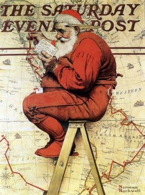 1939:  Santa Claus determines his itinerary depending on behaviour of children, painting by Norman Rockwell