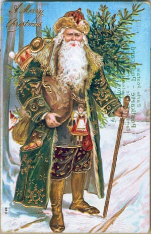 1910 A Postcard With Gold Embellished Santa Claus In Green Coat Is Issued