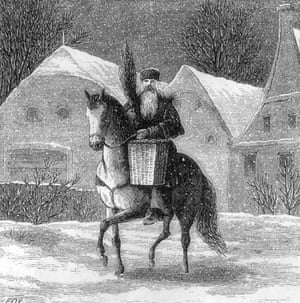 1850:  Engraving of St Nicholas carrying a tiny Christmas tree in a basket