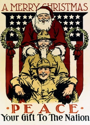 1918:  Father Christmas stands behind a uniformed Uncle Sam and a soldier.
