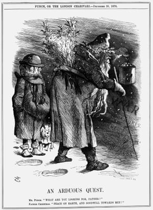 1878: 'An Arduous Quest'. Mr Punch asks Father Christmas what he is looking for. Father Christmas replies that he is looking for peace on earth, and goodwill towards men. He holds his lantern up, revealing the words War, Failures, Commercial Depression and Distress. Britain was engaged in a war against Afghanistan at the time. From Punch, or the London Charivari, December 28, 1878.