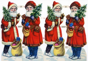 Photograph of a string of die-cut Weihnachtsmann (Father Christmas or Santa Claus) paper dolls made in Germany, late 1800s.