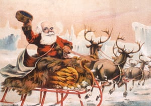 Trade card depicts a Santa Claus figure as he waves from a bird-themed sleigh pulled by reindeer as they return to the North Pole, after delivering all the presents from the now empty sack on the back of the sleigh, 1880s.