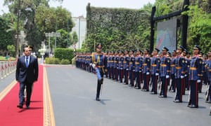 President Abdel Fatah al-Sisi reviews a guard of honour after being sworn in as president of Egypt in June.