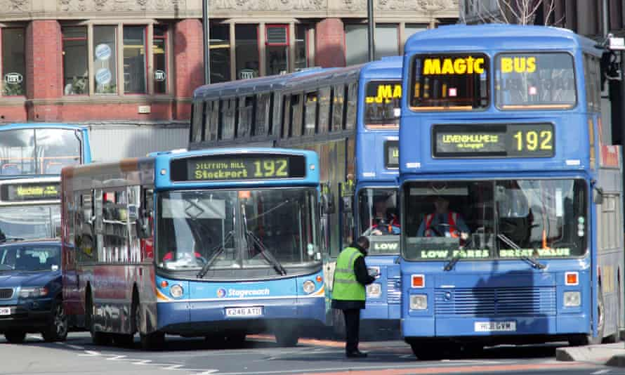 Stagecoach and Magic Bus 192 buses, all painted blue, in Manchester in 2006