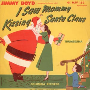 "View of the cover of the 10"" single of 'I Saw Mommy Kissing Santa Claus' by Jimmy Boyd, early 1950s."