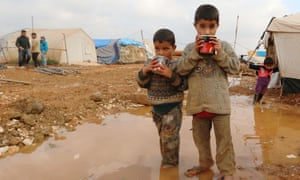 Syrian children in the Bab al-Salama refugee camp on the border with Turkey