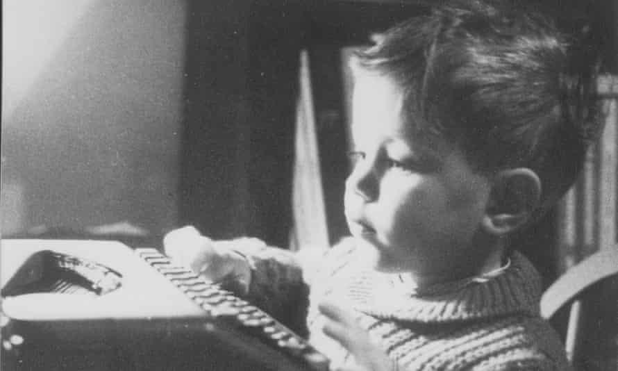 Nick Barlay at his father's typewriter.