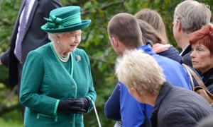 The Queen speaks to wellwishers during a walkabout after morning service at Crathie Church before the Referendum