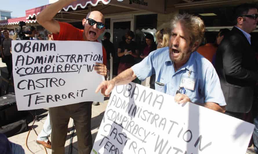 anti-Castro protesters in Little Havana, Miami
