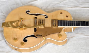 The body of a Gretsch guitar with Bigsby tremelo arm
