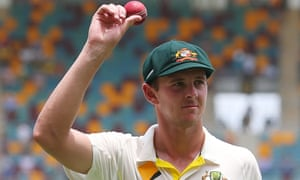 Australia's Josh Hazlewood leaves the field after taking five wickets during day two of the second Test against India.