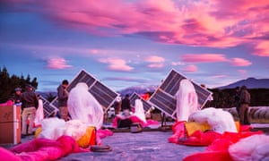 Google Project Loon solar panels and high altitude balloon before take off in New Zealand