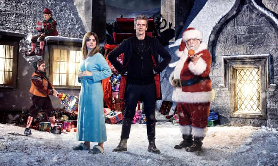 The Doctor (Peter Capaldi), with Clara (Jenna Coleman) and Santa (Nick Frost).