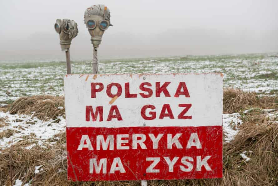 """Poland,Zurawlow,06.12.2014,  place where people successfully within 400 days fought against drilling by chevron. text """"Poland has gas. America has profits""""Commissioned for FOREIGN NEWS re. shale fracking"""