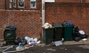 Overflowing bins in Newcastle upon Tyne