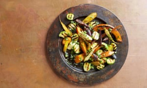 Sprout, carrot and parsnip salad with aji sauce