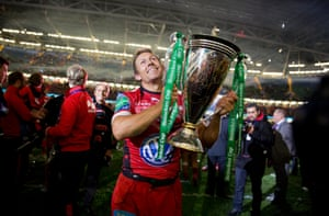 24 May: Jonny Wilkinson holds the Heineken Cup trophy after the Toulon beat Saracensin the final at Millennium Stadium in Cardiff
