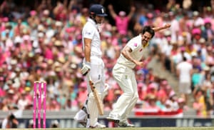 5 January: Australia's Mitchell Johnson celebrates the wicket of England's Alastair Cook who was caught out by Brad Haddin in the fifth Test of the Ashes at Sydney Cricket Ground, while the crowd is awash with pink as part of a fund-raiser for breast cancer awareness