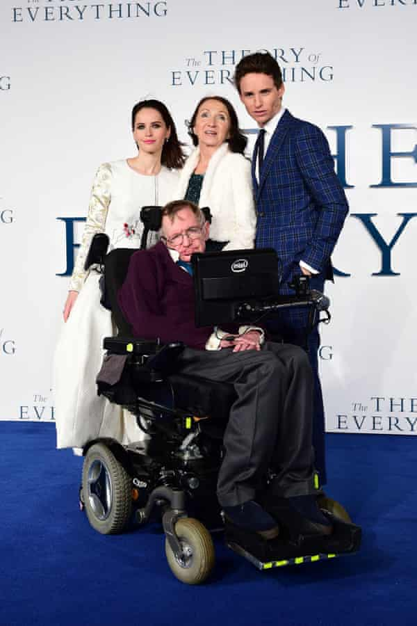 Felicity Jones, Professor Stephen Hawking, Jane Hawking and Eddie Redmayne at the premiere of The Theory of Everything.
