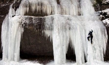 A frozen waterfall.