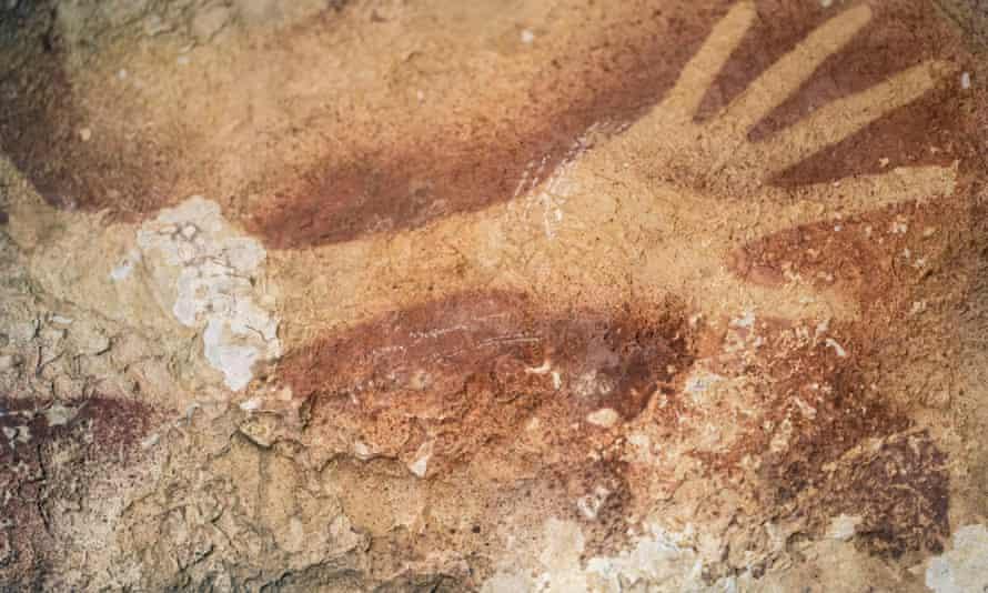 A hand stencil found in a cave in Indonesia