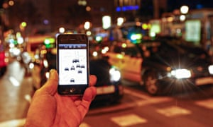 The Uber app is seen on a smartphone