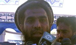 File photo of Zaki-ur-Rehman Lakhvi speaking during a rally