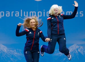 10 March: Kelly Gallagher of Great Britain and guide Charlotte Evans celebrate after winning gold in the women's Super-G Visually Impaired class during day three of Sochi 2014 Paralympic Winter Games in Sochi, Russia