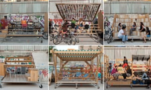 Mobile grandstands created by the architecture collectives of El Campo de Cebada.